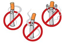 No smoking signs with cigarettes