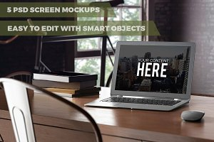 5 PSD screen mockups