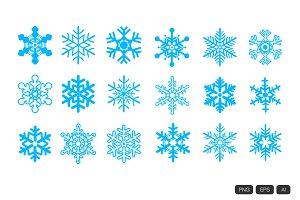 18 Snowflakes Vector