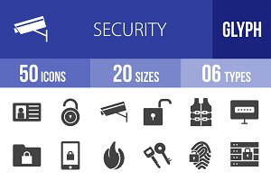 50 Security Glyph Icons
