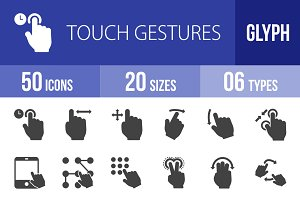 50 Touch Gesture Glyph Icons