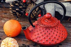 Still life winter tea party
