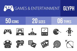 50 Games & Entertainment Glyph Icons