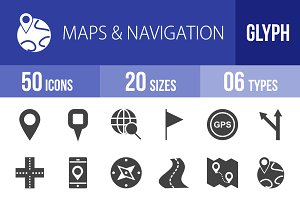 50 Maps & Navigation Glyph Icons