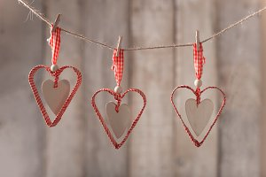 Red hearts hanging