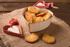 biscuits in heart shaped bowl