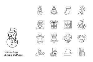 Christmas Outlines Vector Icons