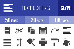 50 Text Editing Glyph Icons
