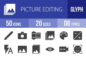 50 Picture Editing Glyph Icons