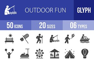 50 Outdoor Fun Glyph Icons