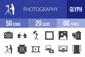 50 Photography Glyph Icons