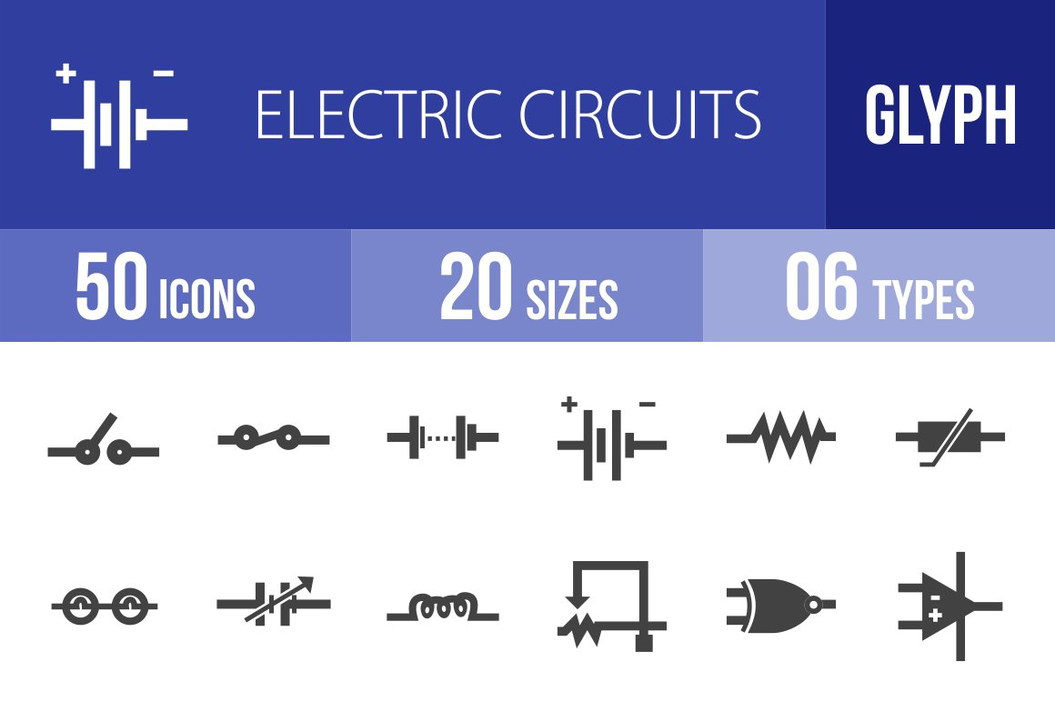 50 Electric Circuits Glyph Icons Creative Market Different Types Of