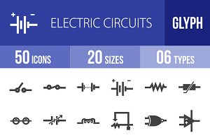 50 Electric Circuits Glyph Icons