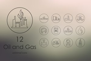 12 oil and gas line icons