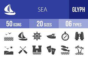 50 Sea Glyph Icons