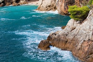 Adriatic Sea Coastline with Cave