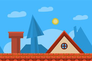 Cartoon roof landscape, background