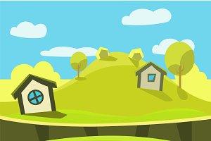 Cartoon nature landscape, background