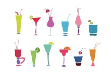 Alcohol glasses color and line set
