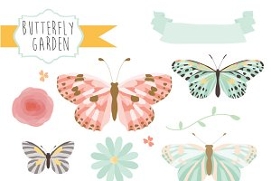 Butterfly Garden Clipart & Vectors