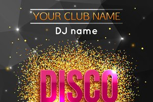 Disco party gold background