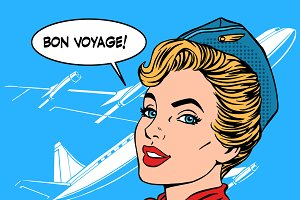 Bon voyage stewardess airplane