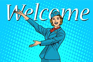 Welcome stewardess travel tourism