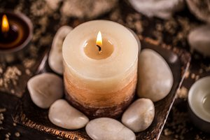 Stones and candle