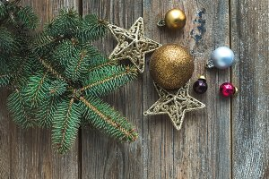 New Year rustic wooden background