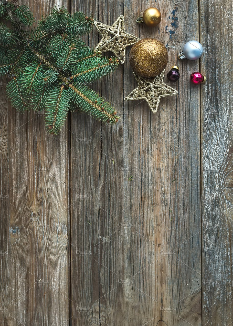 new year rustic wooden background holidays