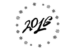 2016 Year. Snowflake. Vector