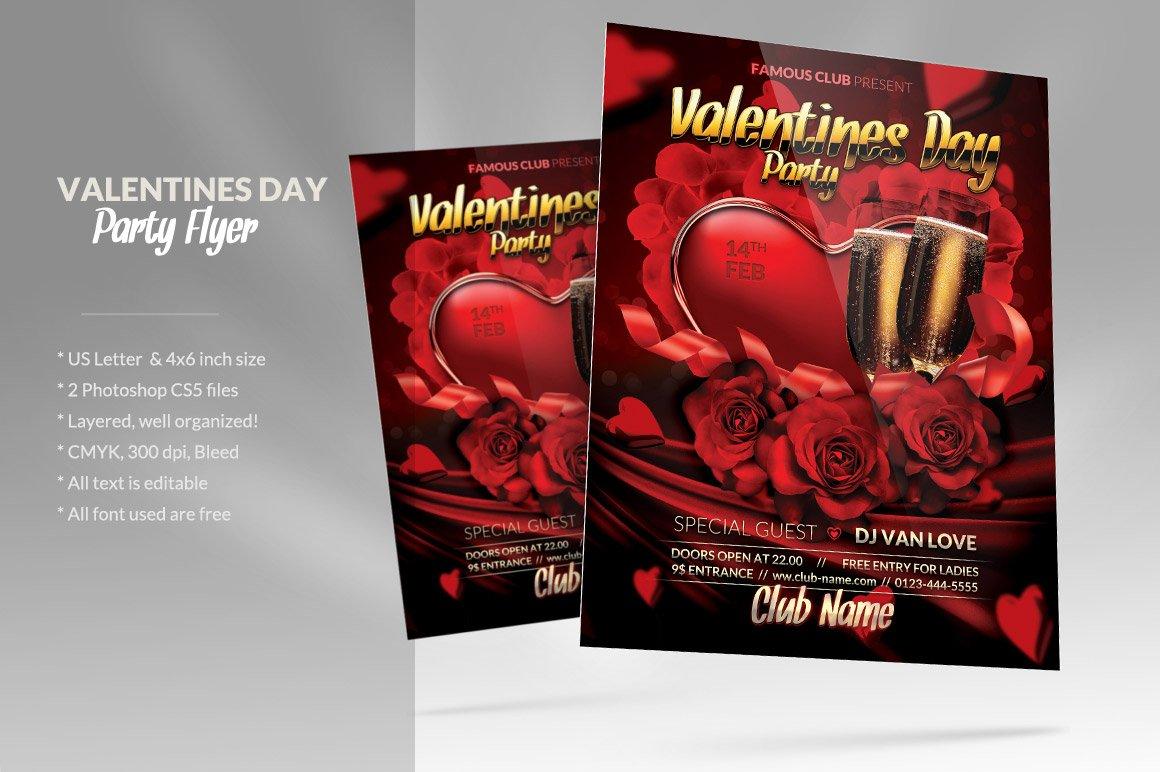 valentine s day party flyer flyer templates creative market