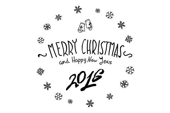 Merry Christmas Happy New 2016 Year Graphics Creative Market