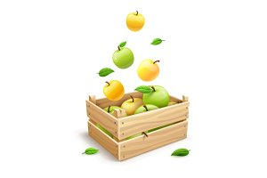 Apple fruits falling into the wooden box