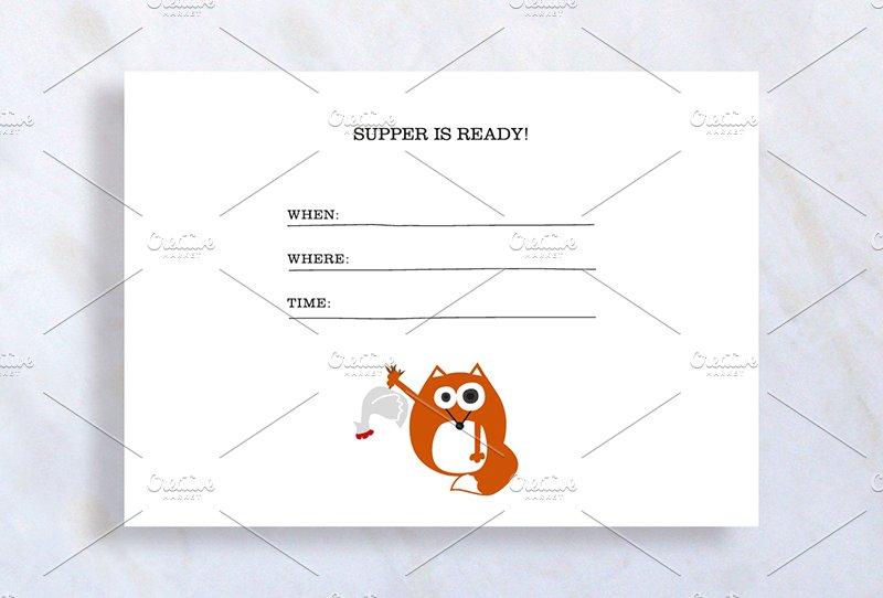 dinner invitation with fox invitation templates creative market. Black Bedroom Furniture Sets. Home Design Ideas
