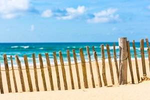 Wooden fence on an Atlantic beach