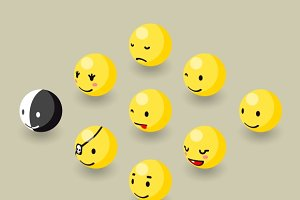 Isometric happy face bubble elements