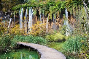 Waterfall and Path in Plitvice Lakes