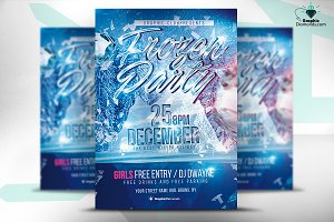 Frozen Party Flyer PSD