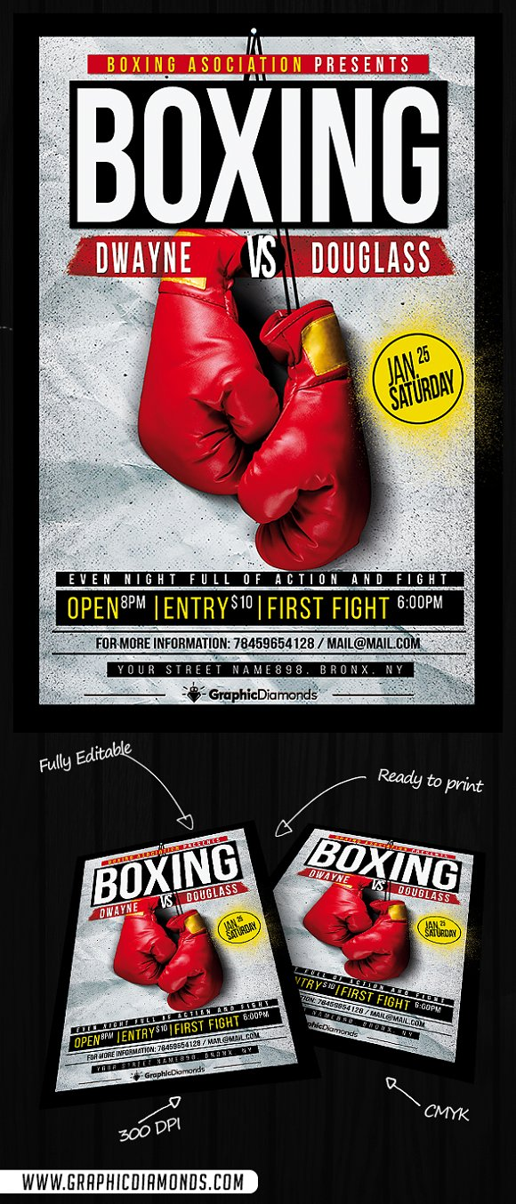 Boxing Flyer Template ~ Flyer Templates ~ Creative Market