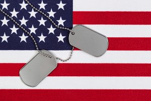 Military identification tags on USA