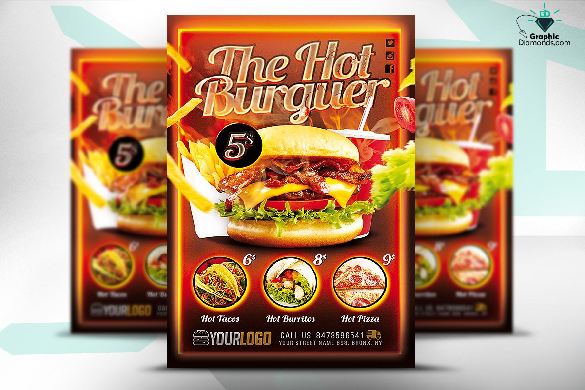 fast food promotion flyer psd flyer templates creative market. Black Bedroom Furniture Sets. Home Design Ideas