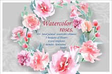 Watercolor  roses (Floral set.)