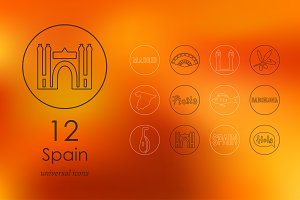 12 Spain line icons