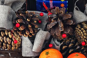 Still life Christmas wreath and tang