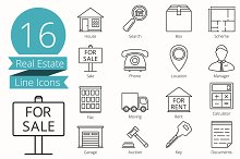 16 Real Estate Line Icons