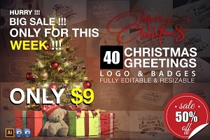 40 Christmas Greetings Logo & Badges