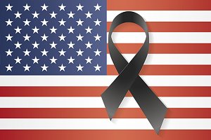 USA flag black ribbon