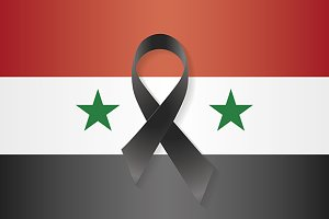 Syria Flag Black Ribbon Illustrations Creative Market - Syria flag