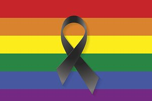 Gay flag black ribbon